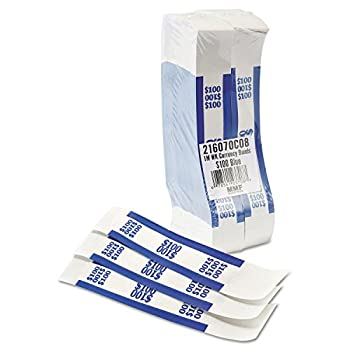 Coin-Tainer 400100 Currency Straps Blue 100 in Dollar Bills 1000 Bands/Pack