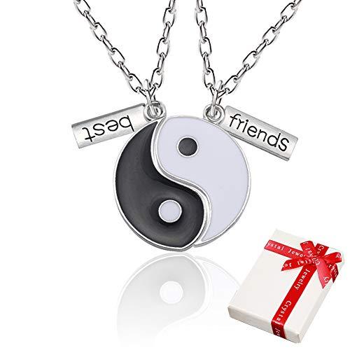 Yin Yang Taichi Cadena colgante de plata para parejas, collares de amistad de 2 piezas ying yang Hasl Collar con grabado Mejores amigos, Joyas collares los mejores amigos, Amantes y Regalos de pareja