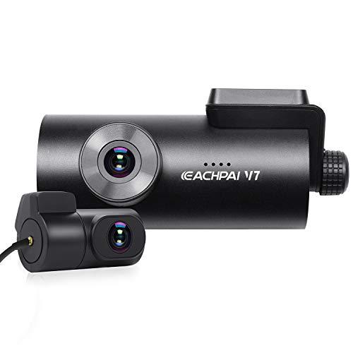 EACHPAI 4K Dashcam Auto, V7 UHD Touchscreen Autokamera, 3840x2160P, Doppelt Aufgenommen für Vorne und Hinten, 170°+150° Weitwinkel, Eingebaut WiFi, Externes GPS-Modul, System Unterstützung Deutsche