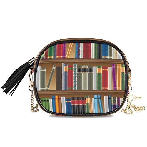 DEZIRO bibliotheek planken met oude boeken beeld kleine PU lederen Crossbody tas met verstelbare metalen ketting riem voor vrouwen