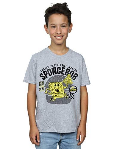Spongebob Squarepants Jungen Krabby Patty T-Shirt Sport Grau 5-6 Years