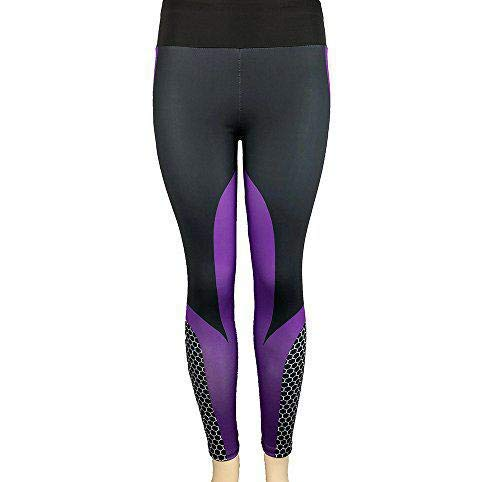 Justwide Mujeres 3D Print Yoga Skinny Workout Gym Leggings Entrenamiento Deportivo Pantalones Recortados(PúRpura,S)