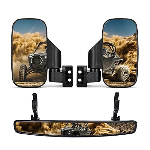 kemimoto UTV Side Mirrors And Rear Center Mirror with 1.75' to 2' Roll Bar Cage Compatible with Polaris RZR, Commander Maverick X3 Viking Rhino Kawasaki Teryx