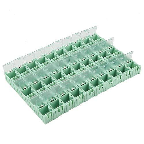 50 Stücke Grün Elektronische Komponenten Teile Mini Aufbewahrungskoffer SMT SMD Container Box mit Transparenten Deckeln