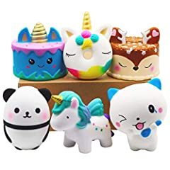 How Many Squishy Include: Each package include 6 pcs kawaii squishy toys, you will get - 1* narwhale cake, 1* deer cake, 1* unicorn donut, 1* unicorn horse, 1* spoon cat, 1* squishy panda. All these squishies toys are new 2019 design and the color as...