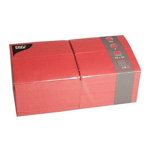 Papstar Servietten / Tissueservietten rot (250 Stück) 3-lagig, 1/8-Falz, 33 x 33 cm, für Feste oder Gastronomie in der großen 250er Gastro-Packung, FSC-zertifiziert, #84578