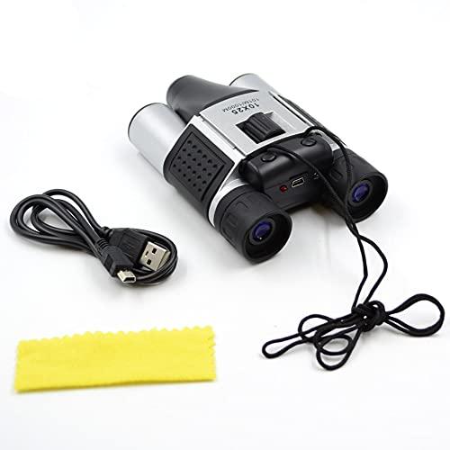 Prismáticos con cámara Digital y videocámara - Zoom 10 x 25 - Ligeros y compactos - Graba Fotos de 1280 * 960 y vídeos de 640 * 480 - Cordón para Cuello y Cable USB incluidos