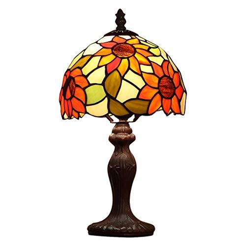 XU FENG Lámpara de sobremesa de Estilo Europeo Tiffany con Flor de Sol y vitrales, Uso de Base...