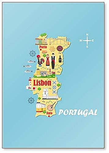Mapa estilizado de Portugal. Imán para nevera de Travel Illustration con paisajes portugueses