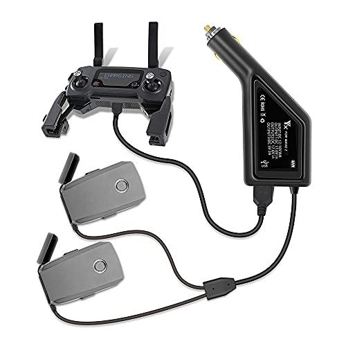 JIJIONG Cargador de batería para automóvil Adaptador de Carga rápido 3 en 1 para dji Mavic 2 Pro Zoom Control Remoto de batería de Vuelo con repuestos USB