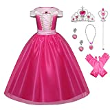Little Girls Princess Aurora Costume Halloween Party Birthday Dress Up Cosplay Outfit