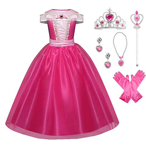 Little Girls Princess Aurora Costume Halloween Party Birthday Dress Up Cosplay Outfit (Color1, 7-8 Years)