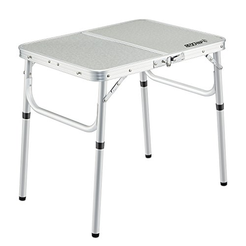 REDCAMP Small Folding Table 2 Foot, Adjustable Height Lightweight Portable Aluminum Camping Table for Picnic Beach Outdoor Indoor, White 24 x 16 inch