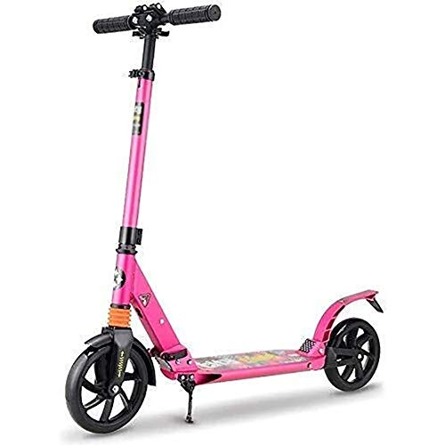 WJJ Patinetes Para Niños Barras de scooter, Adulto Vespa, Vespa ruedas, Kick plegable con absorción de impactos for 130-185Cm Altura, Pu intermitente de la rueda del retroceso de dirección inteligente