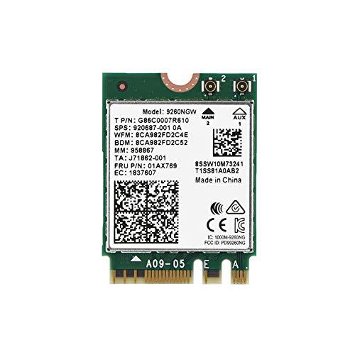 Tarjeta inalámbrica de Banda Dual AC 9260NGW NGFF WiFi, Alta Velocidad 2.4G + 5G de Banda Dual 802.11ac Bluetooth 5.0, Sistema operativo Linux/Chrome/Windows 10 Compatible