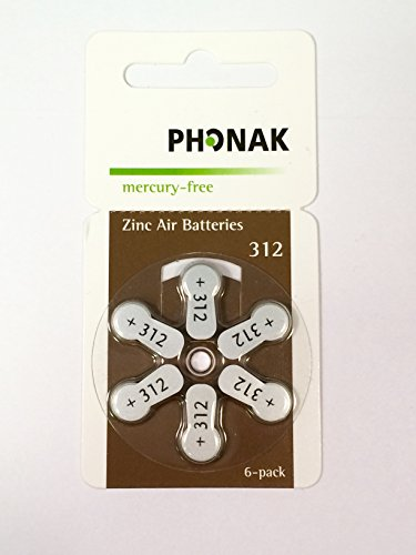 Phonak 312 Mercury Free Hearing Aid Battery x60 Cells (10 packets) by KEEPHEARING LTD