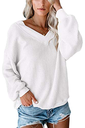 ioiom Womens Soft Knit Waffle Pullover Sweatshirts Long Sleeve Loose Knit Lightweight Sweaters White L