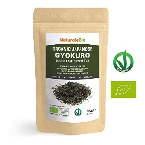 Thé vert Gyokuro Japonais Bio de 100g | 100 % Bio, Naturel et Pur, Thé vert en vrac de première récolte cultivée au Japon | Organic Japanese Gyokuro Green Tea | NATURALEBIO