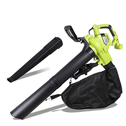 3000W 3 in 1 Electric Garden Leaf Blower/Vacuum Shredder with 45L Large Collection Bag Carry Strap, Variable Blow Speed, for Yard Grass or Leaves Cleaning -15:1 Shredding Ratio, 10m Cable