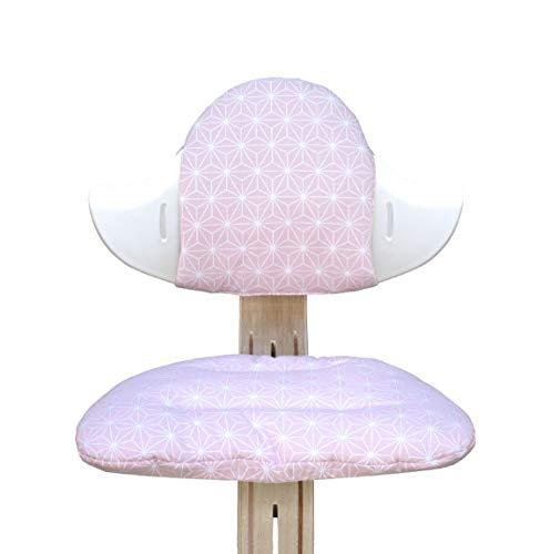 Blausberg Baby - BESCHICHTET - Sitzkissen Set für Nomi Hochstuhl von Evomove - Happy Star Rosa
