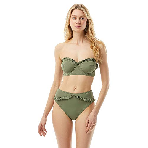 Michael Kors Iconic Solids Ruffled Underwire Bandeau Top with Removable Strap Army Green XS