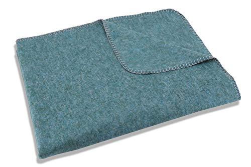 Setex Kuscheldecke, Dekorative Decke aus 85% Baumwolle und 15% Polyester, 200 x 150 cm, Petrol Uni