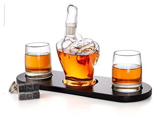 AMDHZ Juego de decantores de Whisky, Forma de Dedo Medio, con Dos Copas de Vino y Base de Pino, para Ron, escocés, borbón, Whisky, Regalo para Hombre Decantador de Whisky