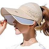 Sun Visor Hats Women Large Brim Summer UV Protection Beach Cap Bike Running Sun Hat Golf Tennis Cap for Men & Women