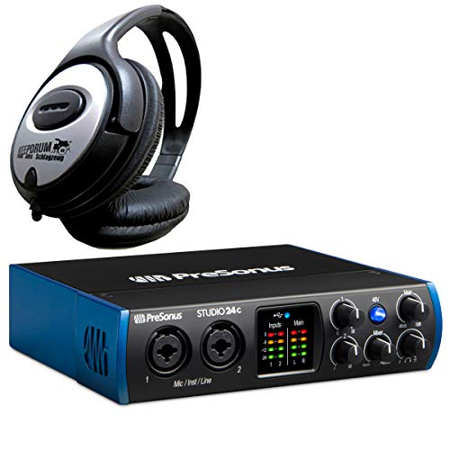 Presonus Studio 24C 2-Kanal USB Audio-Interface + keepdrum Kopfhörer