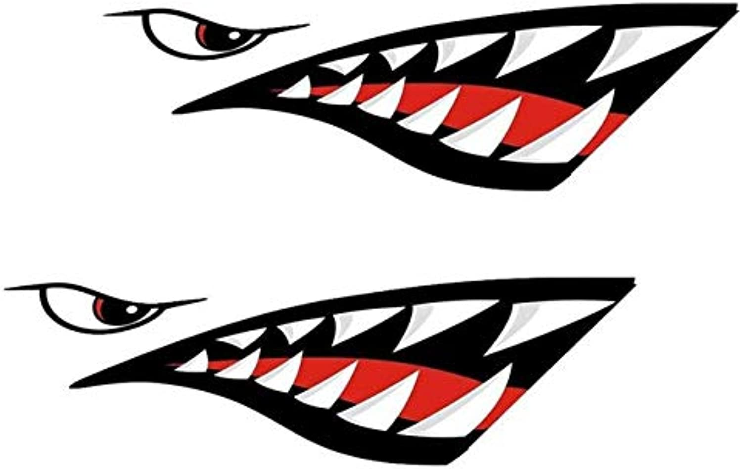 Shark Teeth Mouth Decals Sticker for Fishing Boat Canoe Car Truck Kayak NJ88  (color Name  Black)