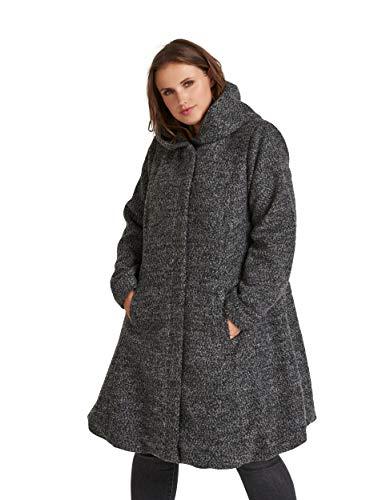 Zizzi Damen Mantel Lange Jacke Wolle mit Kapuze und Taschen, Grau (Dark G. Mlg 1801), Large (Herstellergröße: 50/52)