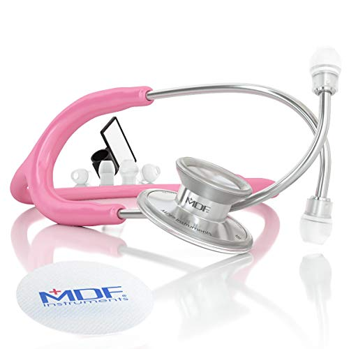 MDF Instruments MDF747XP-01 Acoustica® Deluxe, Estetoscopio ligero de doble cabeza - Garantía de por vida & Programa-piezas-gratuitas-de-por-vida, Rosa