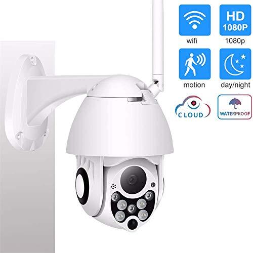 Cámara de seguridad para exteriores HD 1080P WiFi inalámbrica panorámico inclinación, zoom de vigilancia IP visión nocturna,IP66 resistente a la intemperie, detección de movimiento y alertas