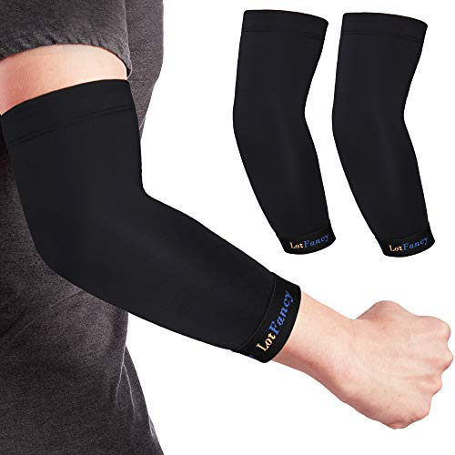 Copper Elbow Brace, 1 Pair Elbow Compression Sleeve for Tendonitis, Arthritis, Bursitis, Golf, Weightlifting, Joint Support and Recovery, for Men, Women, Size S