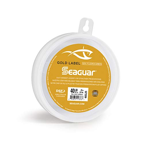 """Seaguar, Gold Label Saltwater Fluorocarbon Line, 25 Yards, 30 lbs Tested.017"""" Diameter, Gold"""