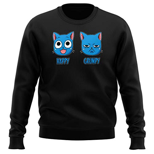 Okiwoki Pull Noir Parodie Fairy Tail - Happy Vs Grumpy Cat - Happy Grumpy (Sweatshirt de qualité Premium de Taille S - imprimé en France)