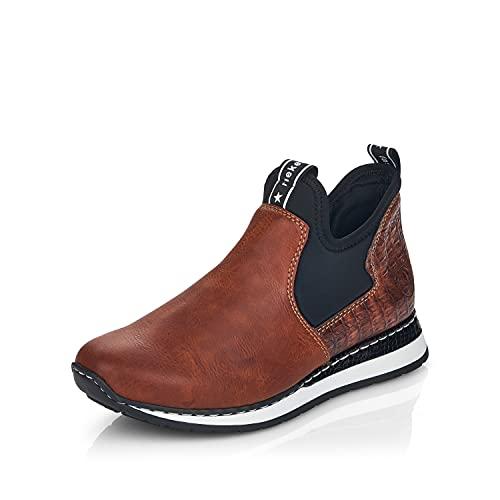 Rieker Damen Chelsea Boots X3063, Frauen Stiefeletten,lose Einlage,uebergangsstiefel,Schlupfstiefel,flach,Woman,braun (24),40 EU / 6.5 UK
