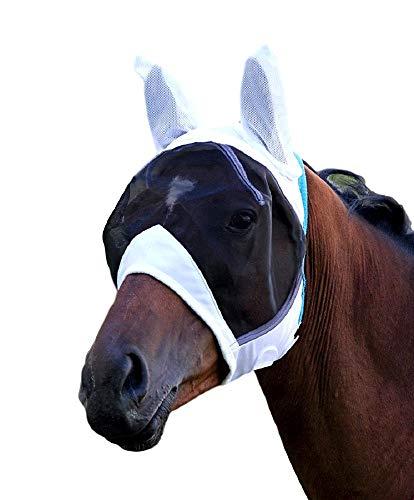 Maschera anti-mosche, marca Shires, a rete e maglia fine, con para orecchie, White
