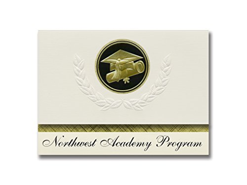 Signature Announcements Northwest Academy Programm (Hanover, IL) Graduation Ankündigung, Presidential Style, Elite Paket mit 25 Cap & Diplom-Siegel, Schwarz & Gold