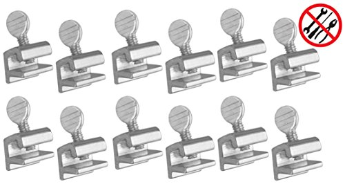 ALAZCO 12pc Premium Home Security Sliding Window Lock - Tamper Resistant Extruded Aluminum - Thumbscrew No Tool Needed