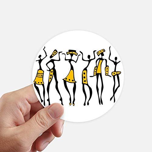 DIYthinker Autochtone Noir Totems Primitive Afrique Dessin Autocollants 10CM Mur Valise pour Ordinateur Portable Motobike Decal 8Pcs diamètre 10cm Multicolor