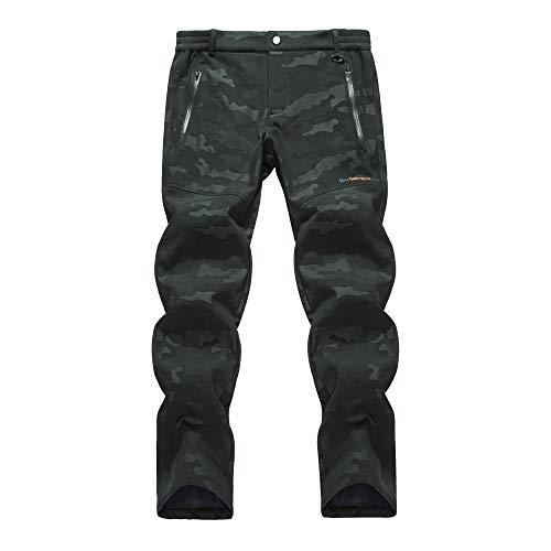 LY4U Hombres Pantalones de Senderismo con Forro Polar Softshell para Hombre, Repelente al Agua al Aire Libre, a Prueba de Viento, Grueso, para Caminar en Invierno, Pantalones de Camuflaje