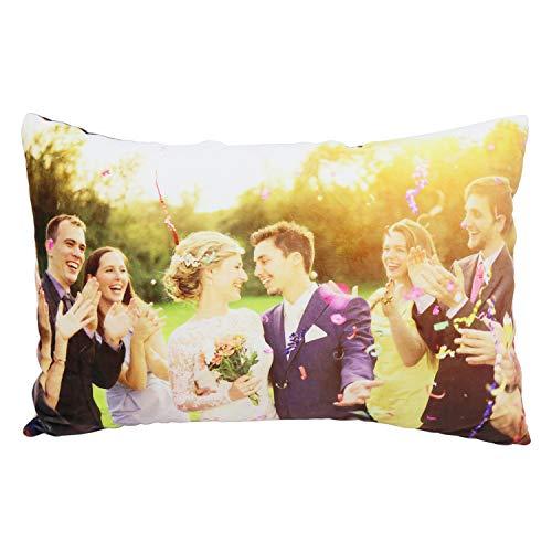deutschwaren Fotokissen Personalisiertes Kissen individuellem Bild mit Füllung Doppelseitiges Bild Foto Bedrucken Kissen Farbig zum Geburtstag Jahrestag (60x40cm)