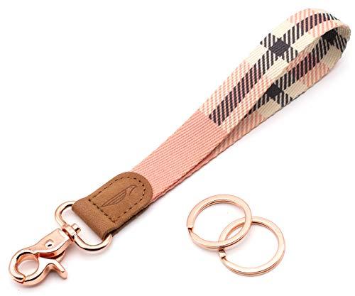 POCKT Lanyard for Keys Wristlet Strap Key Chain Holder for Men and Women - Cool Hand Wrist Lanyards for Keys and Wallets | Pink Plaid