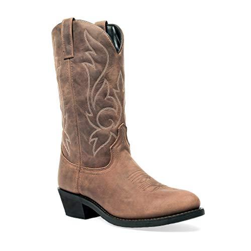 Men's Brown Distressed Round Toe Western Cowboy Boot (Brown, 11)