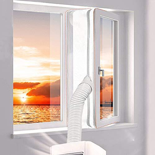 SRJTEK Universal-Fensterdichtung für tragbare Mobile Klimaanlage und Wäschetrockner, Heißluft-Stopp, Luftaustauschschutz mit Reißverschluss und Hakenband, kein Bohren von Löchern erforderlich