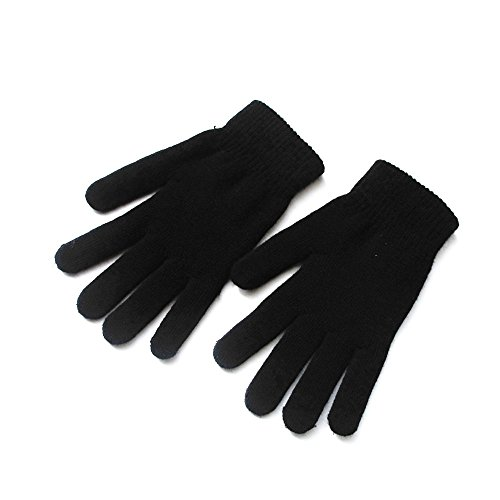Mellons Unisex Winter Knit Classic Solid Color Gloves, Black, One Size