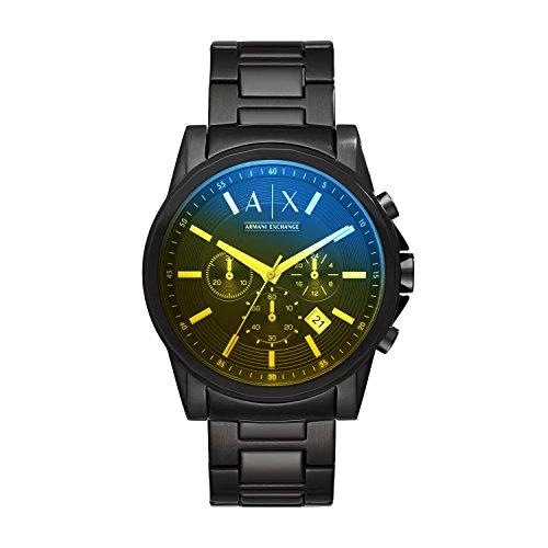 Armani Exchange AX2513 Reloj Armani Exchange Caballero, Extensible Acero Negro, Caratula Negro, Analogo…
