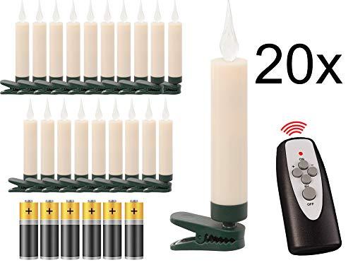 20 LED Weihnachtsbaumkerzen mit simulierter Acryl-Flamme / kabellos / Timer / Flacker-Modus / Weihnachtsbeleuchtung - Weihnachtskerze für Innen
