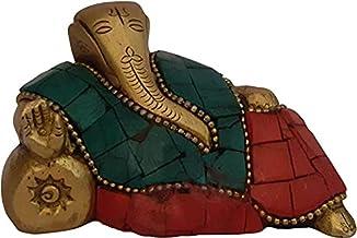 Ganesha Indian Temple Murti Idol God Statue Brass Sri Ganpati Stylish Show Pieces - Multi Decorative Showpiece - 7 cm (Bra...